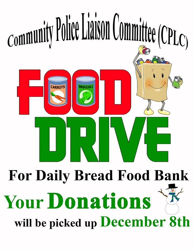 Community police liaison committee cplc fooddrive for