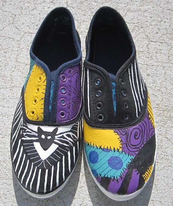 02a5e2dd13f167 Nightmare Before Christmas hand painted shoes! Jack and Sally design.  Womans Size 7 is ready to be shipped. Message for custom made orders or for  a