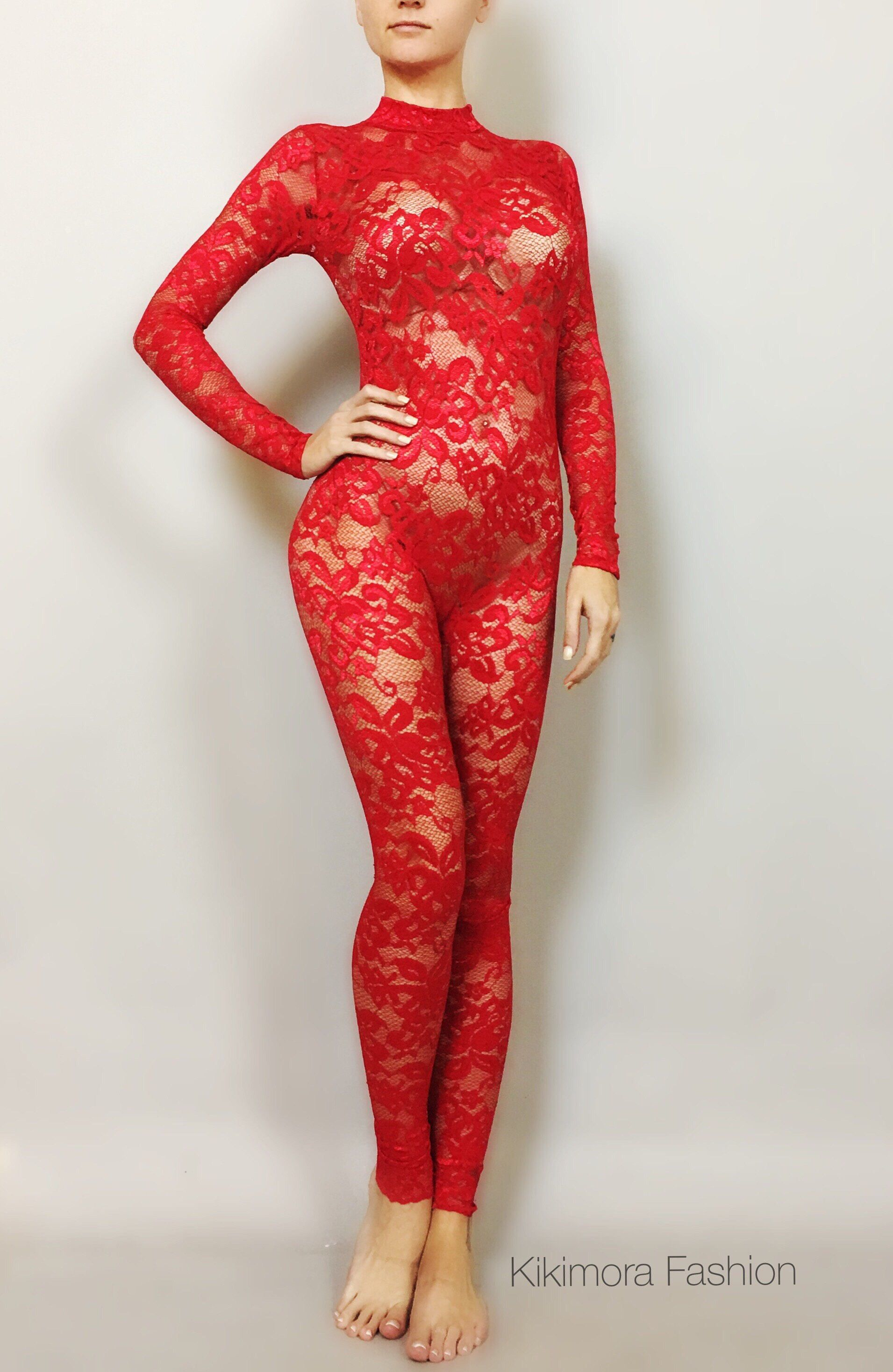 668a310428 Excited to share the latest addition to my  etsy shop  Christmas red Lace  catsuit