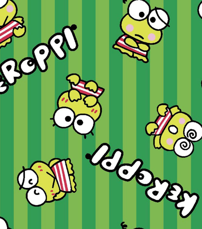 Sanrio Keroppi Stripe Flannel Fabric Jo Ann Gambar Lucu Kartun Wallpaper Lucu