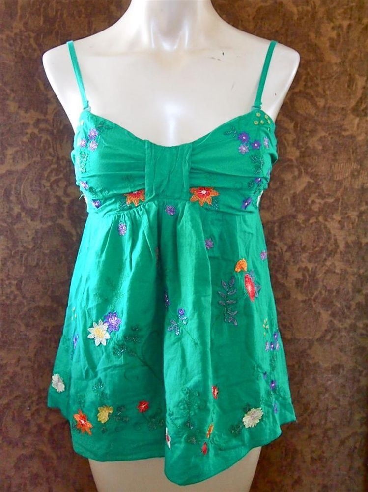 New! BUFFALO David Bitton Green Cotton Floral Embroidered Babydoll Tank Top S 4