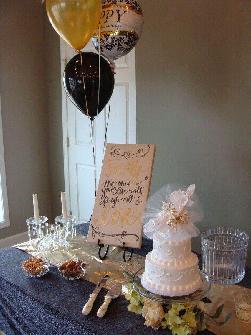 Wedding cake table decoration ideas  th Wedding Anniversary Party Cake Table  th Anniversary Party