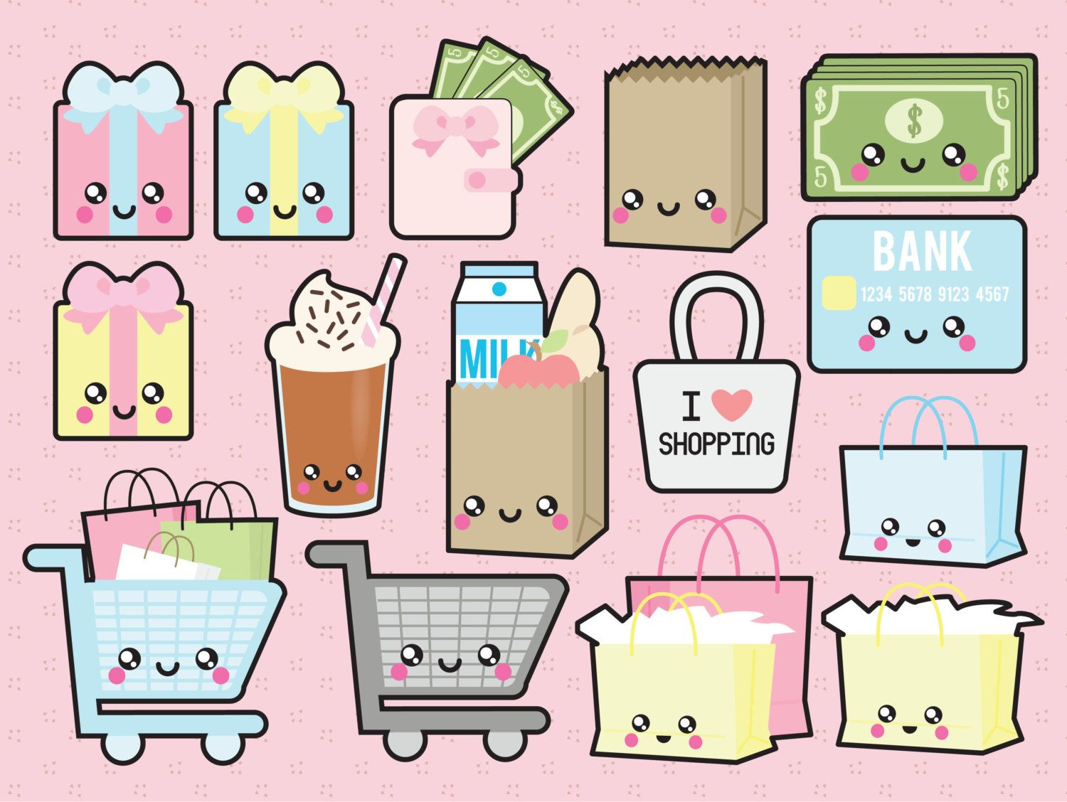 Go Check Out The Adorable Premium Vector Clipart Kawaii Shopping By LookLookPrettyPaper