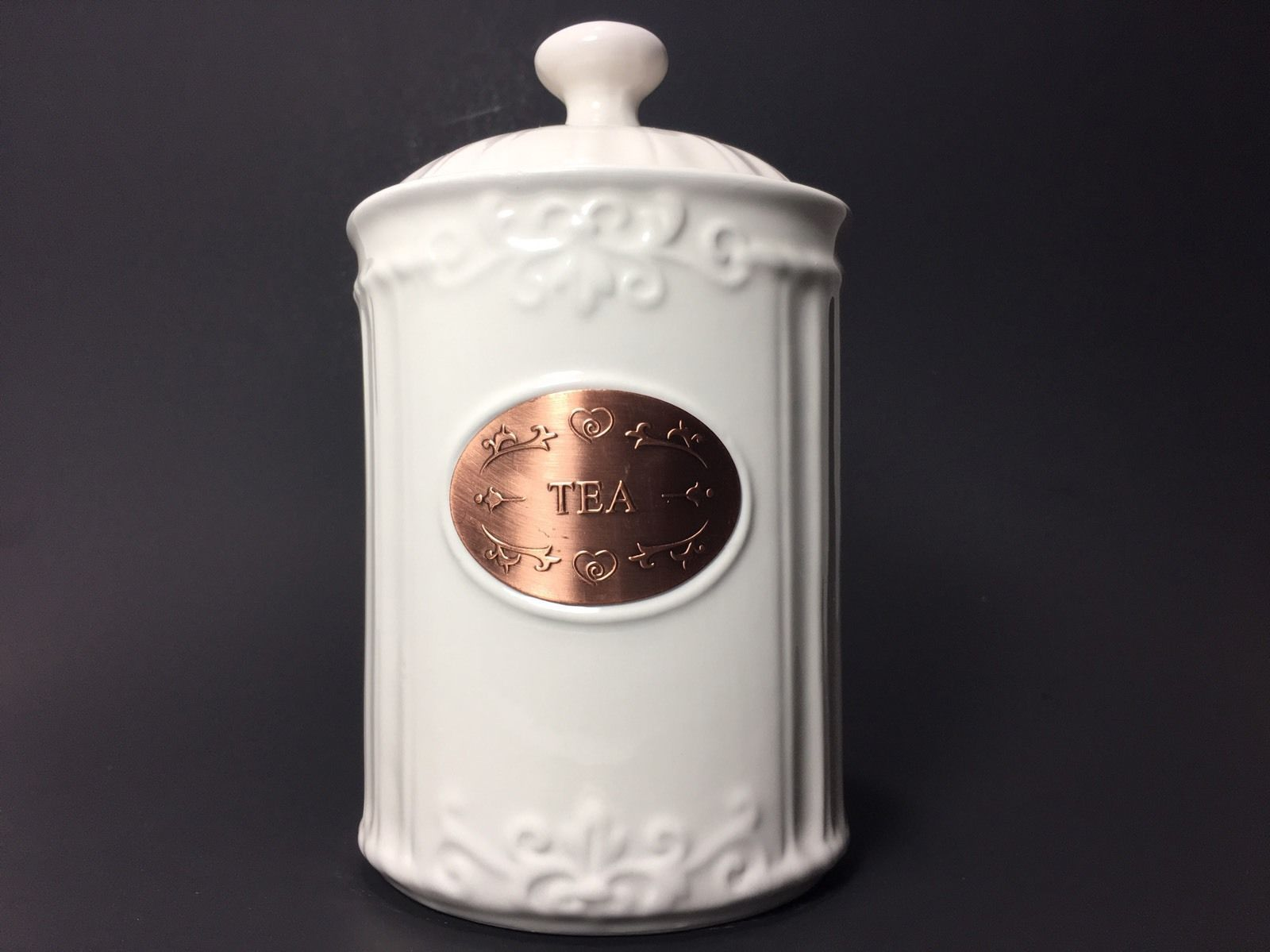 THL-Shabby-Chic-Tea-Canister-With-Copper-Plated- | Copper ...