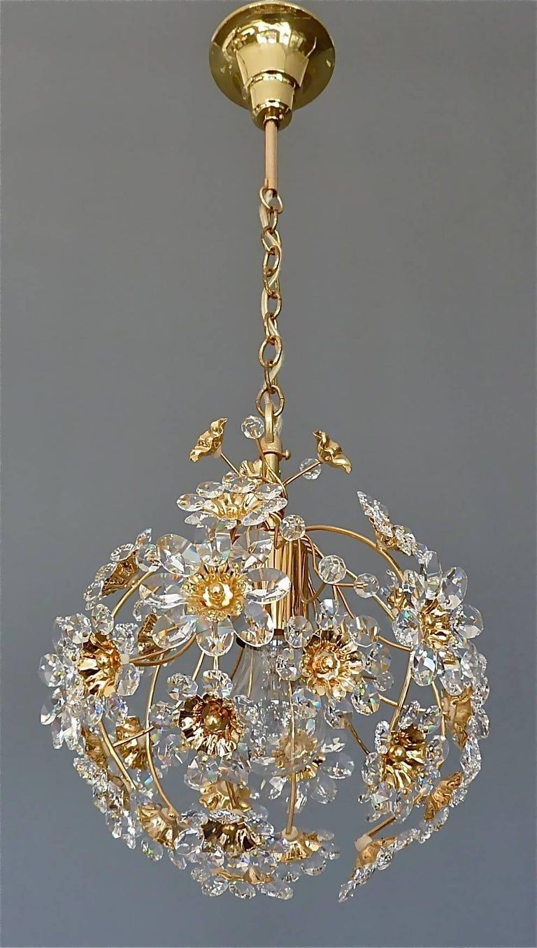 Exceptional Palwa Gilt Brass Crystal Glass Flower Ball Chandelier