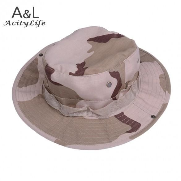 8e682ad6673 Fisherman s hat Hot Sale 2017 New Men Fishing Hiking Boonie Snap Brim  Bucket Hats Cap Camo