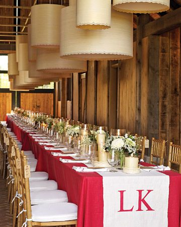 This head table is set with monogrammed organic linens that were embroidered by the bride and a friend