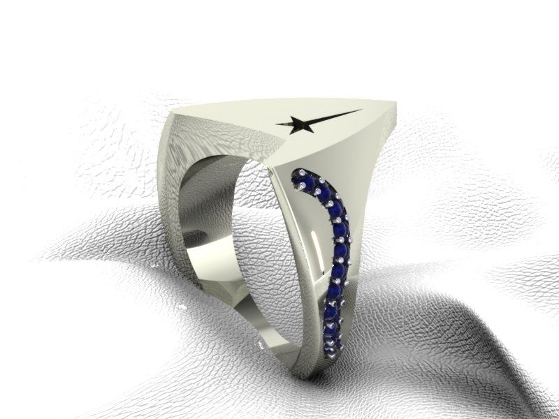 Star Trek Ring With A Row Of Blue Sapphires Their Deep Blue Color A