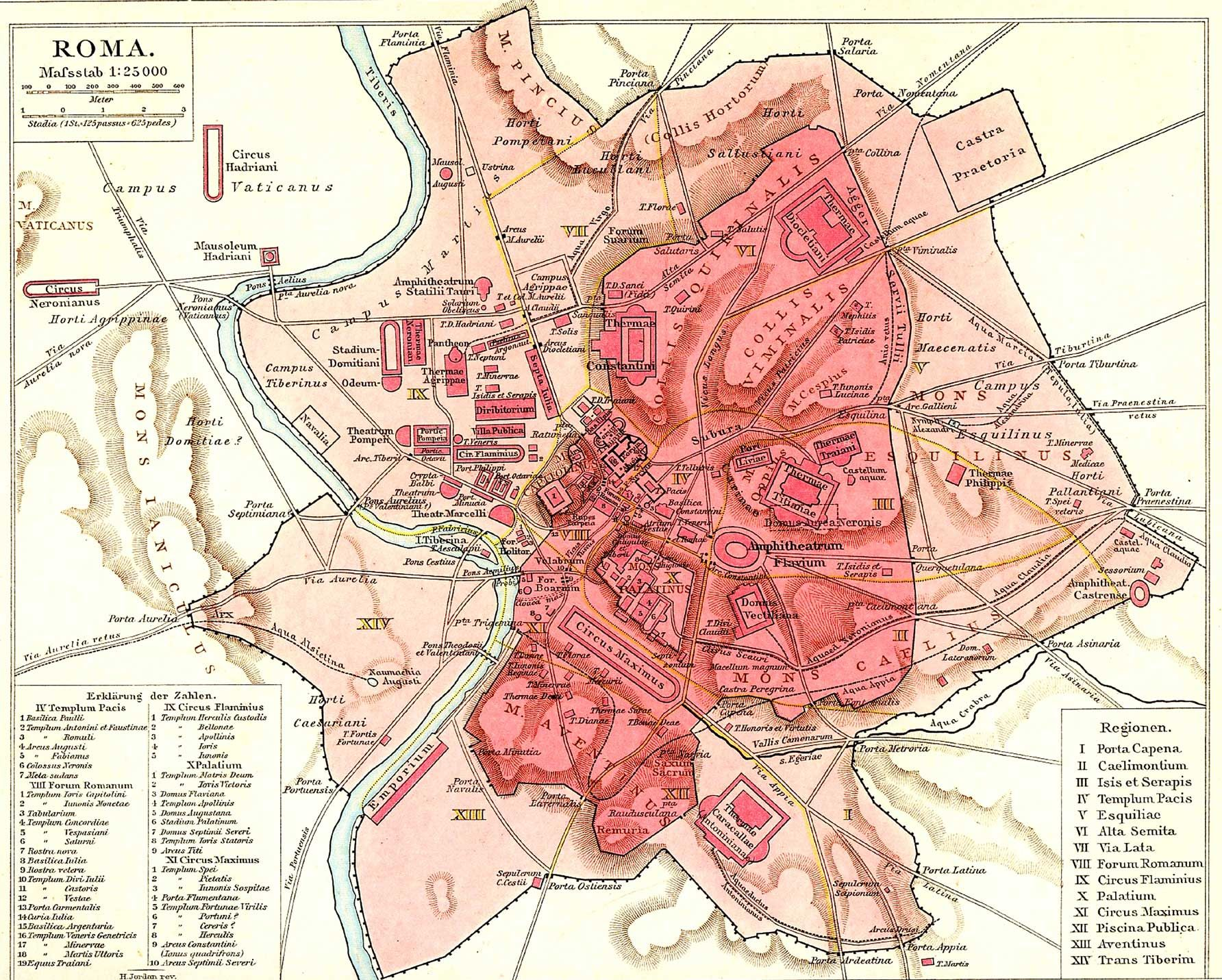 Historical Rome City Map Tuscanyagriturismogiratola