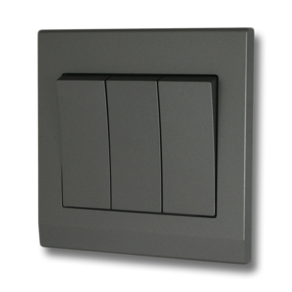 This Is A 3 Gang Mid Grey 2 Way Switch On A High Quality Durable