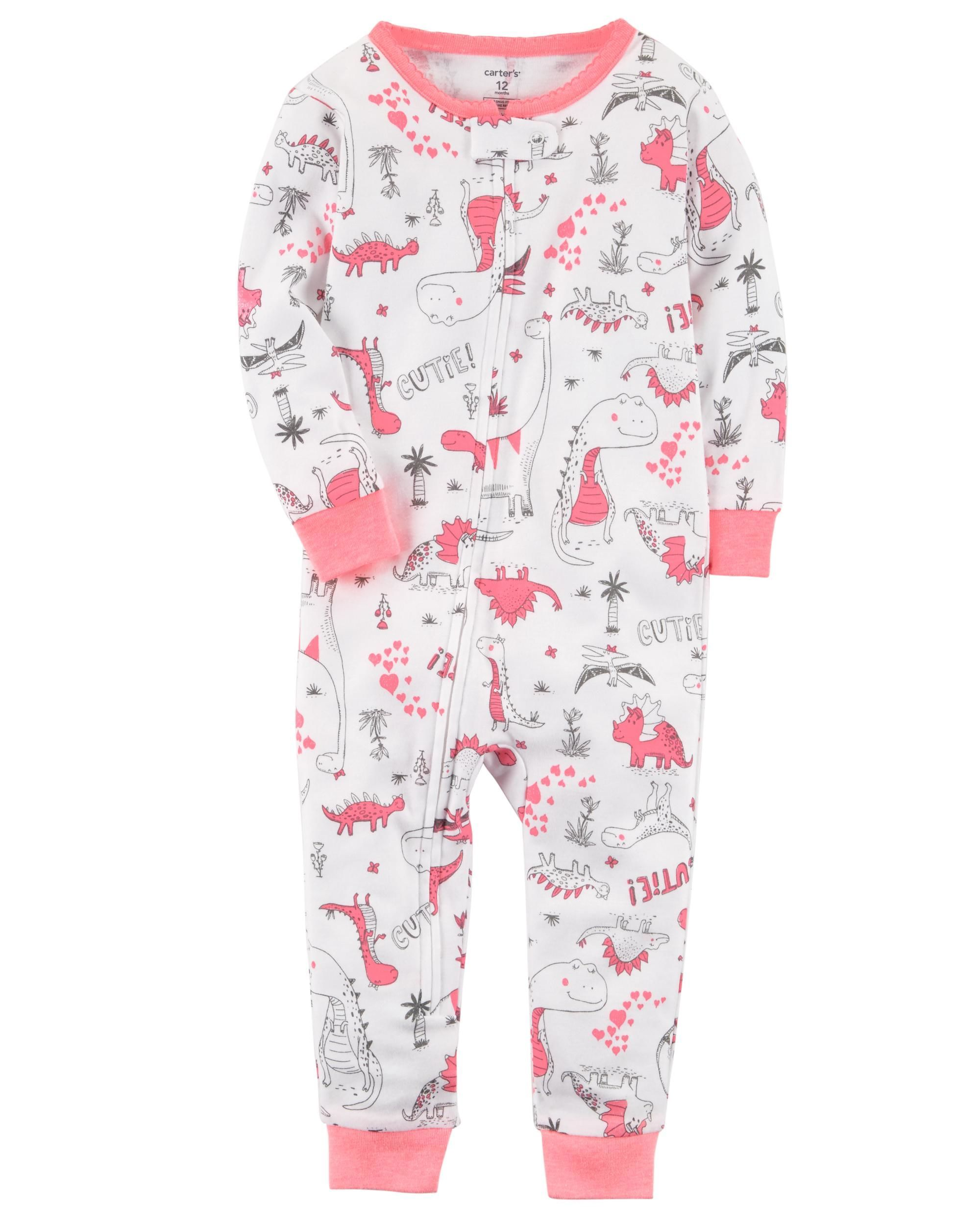 8a914a2c2344 Baby Girl 1-Piece Dinosaur Snug Fit Cotton Footless PJs