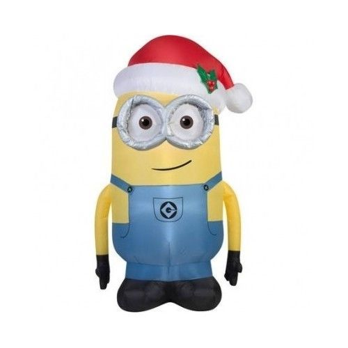 Airblown Inflatable Minion With Santa Hat Christmas Decoration