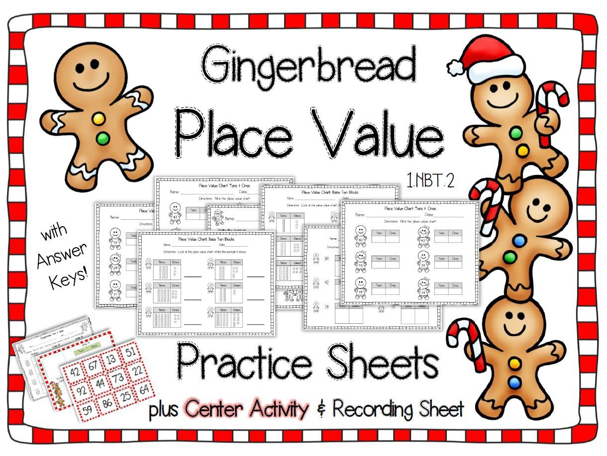 Gingerbread Christmas themed Place Value practice sheets and center activity  #placevalue #place…   Christmas math worksheets [ 917 x 1220 Pixel ]