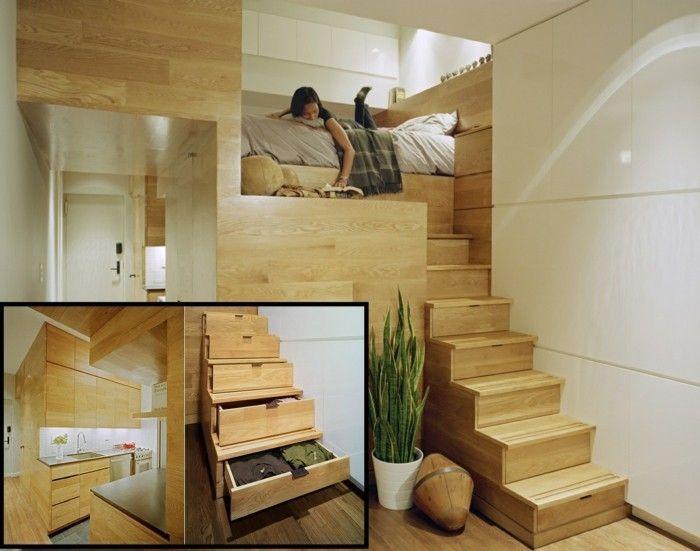 Kleine Wohnung Einrichten Einzimmerwohnung Schlafzimmer Hochbett  Holzbtreppe Stauraum | Einrichtungsideen | Pinterest