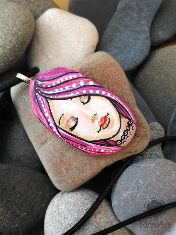 Cyber Week Woman Face Rock Black Friday Face Painted Rock Adjustable Pendant Face Painted Stone Art Ston Rock Painting Art Rock Painting Patterns Painted Rocks