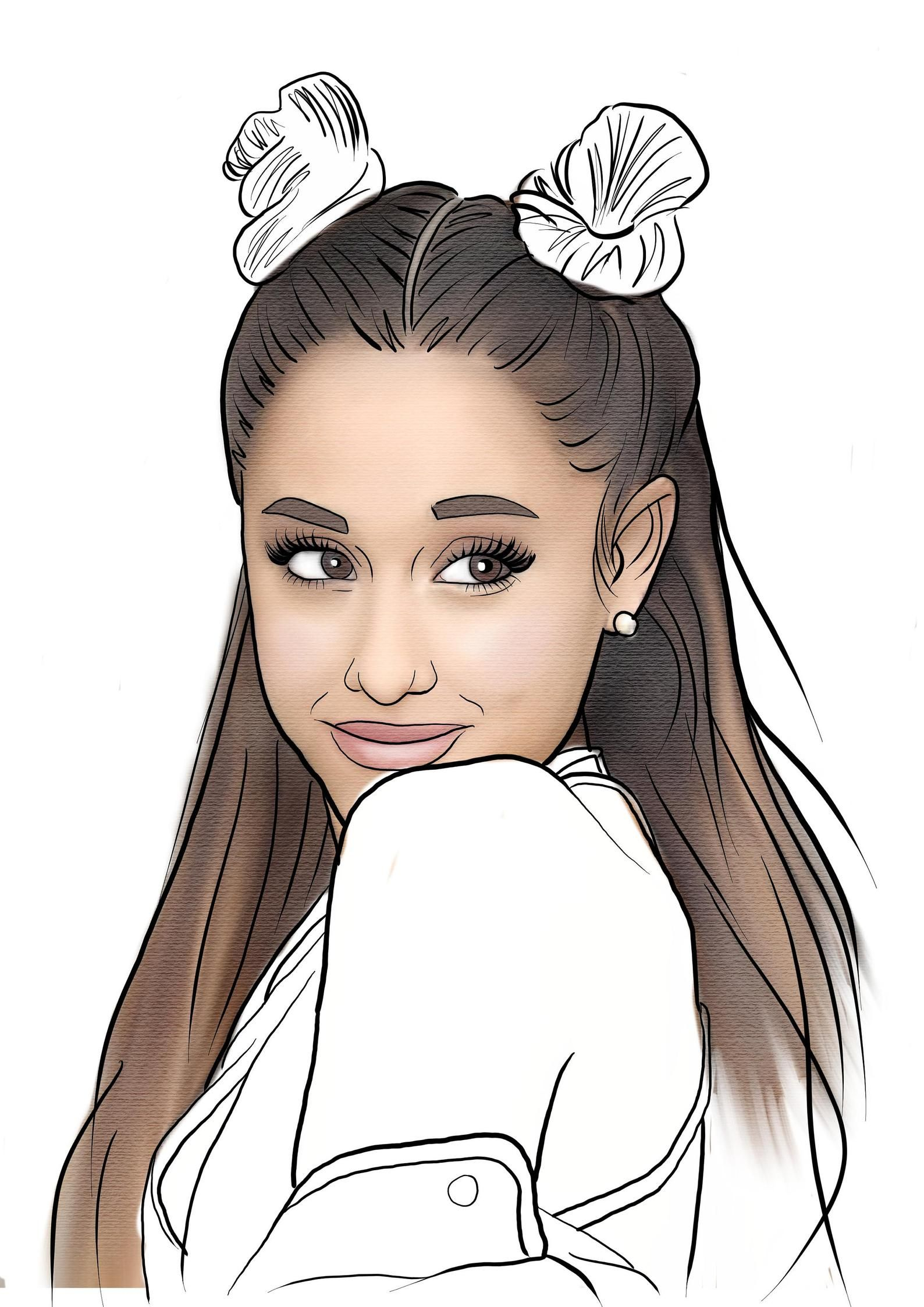 Ariana Grande adult colouring page download Adult