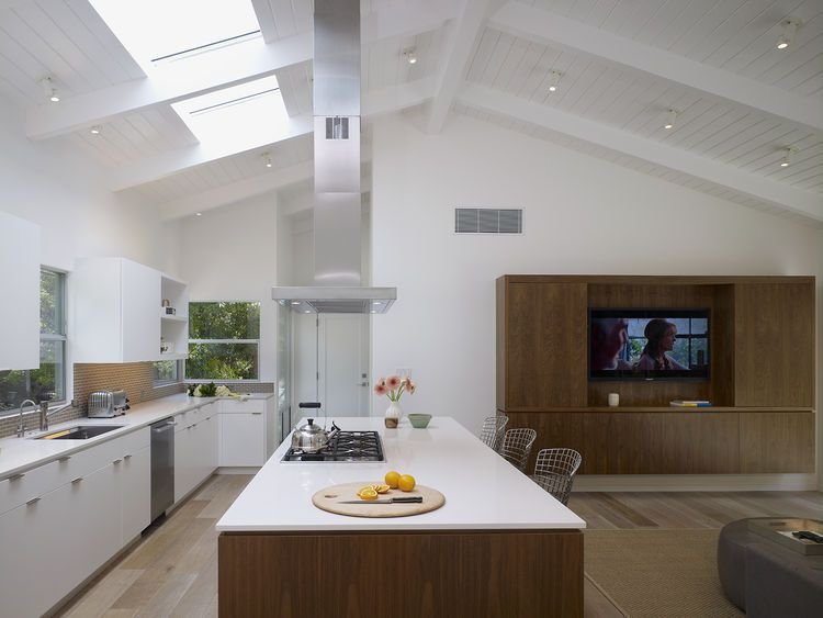 Bosch gas cooktop and Miele refrigerator in kitchen of Los Angeles ...