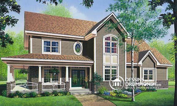 Détail du plan de Maison unifamiliale W4871 plan a faire Pinterest - dessiner plan de maison