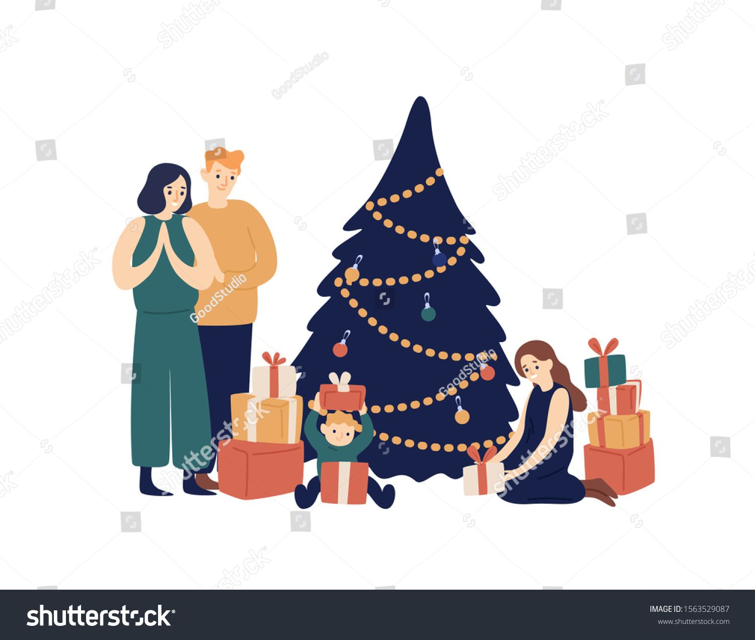 Family And Christmas Tree Flat Vector Illustration Smiling Parents And Children Opening Gifts Under New Family Illustration Family Christmas Tree Illustration