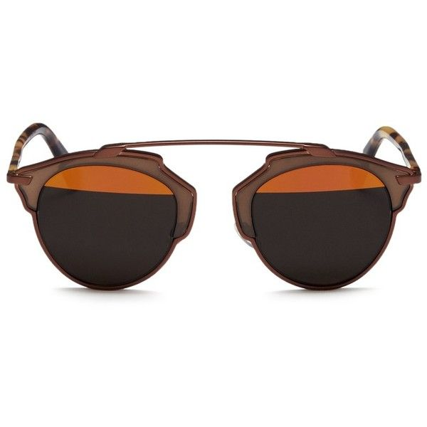 Dior 'Dior So Real' tortoiseshell temple inset metallic stripe... (2.030 BRL) ❤ liked on Polyvore featuring accessories, eyewear, sunglasses, brown, mirrored lens sunglasses, tortoiseshell sunglasses, brown sunglasses, christian dior sunglasses and round sunglasses