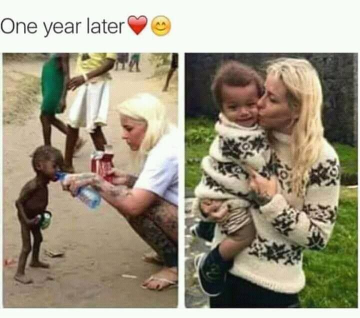 The photo on the left is a Nigeriam boy the photo on the right is of her own son. Her name is Ms. Loven and she does rescue children