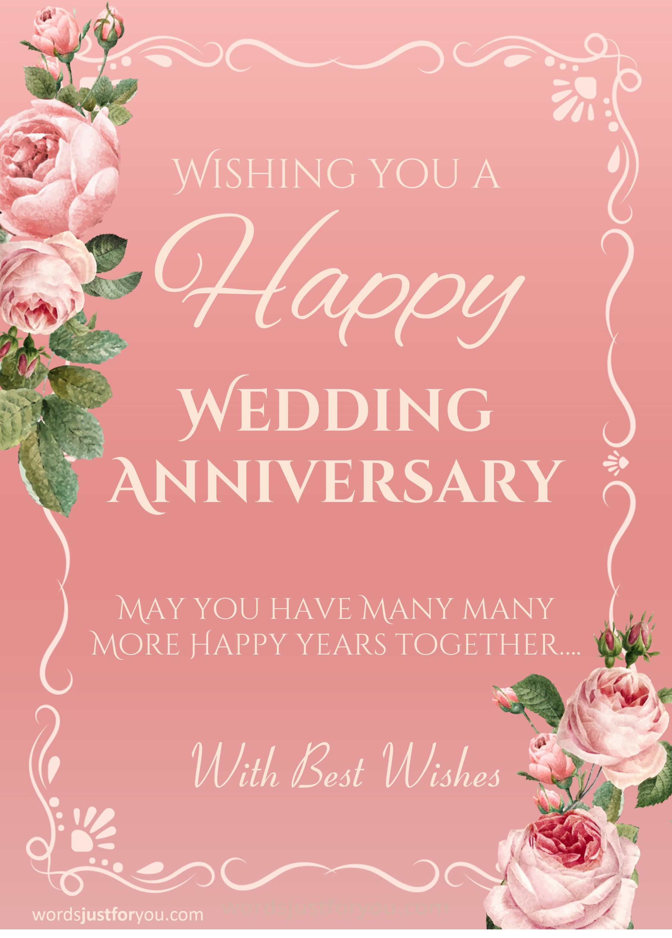 Happy Wedding Anniversary Card Words Just For You Free Design