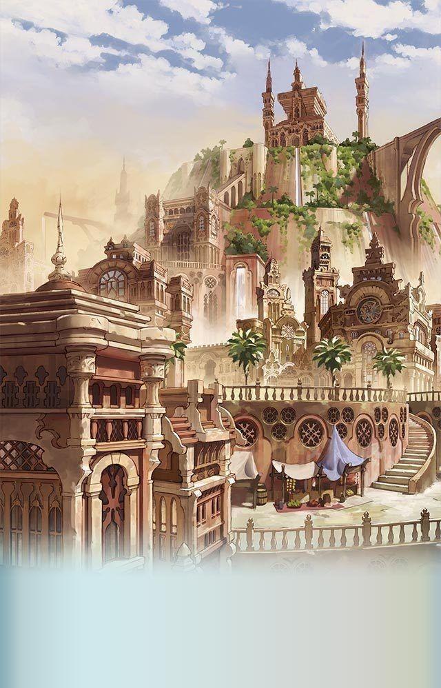 The Art Of Animation — Gran Blue Fantasy Città Fantasy, Il Mondo Della Fantasia, Arte Fantasy, Paesaggi Anime, Luoghi, Natura, Arte Fantastica, Bei Posti