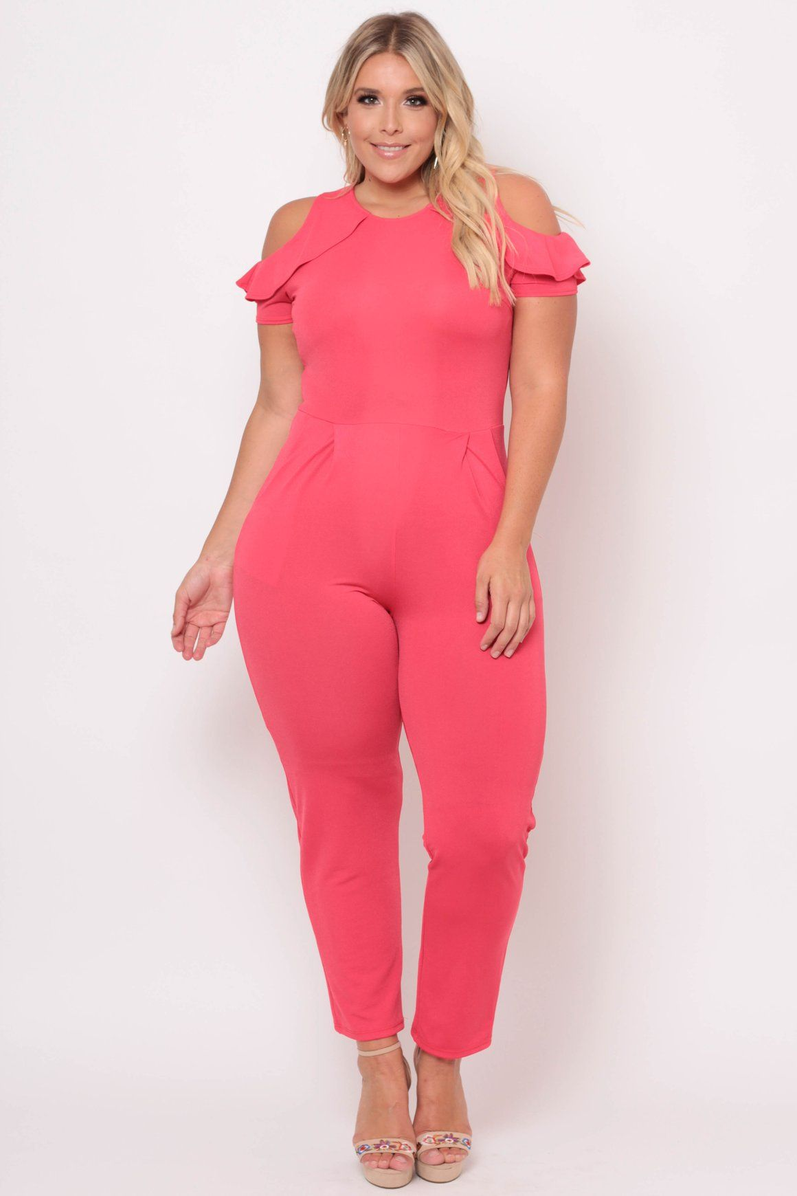 2c589fa9f28b Plus Size Cold Shoulder Ruffle Jumpsuit - Coral