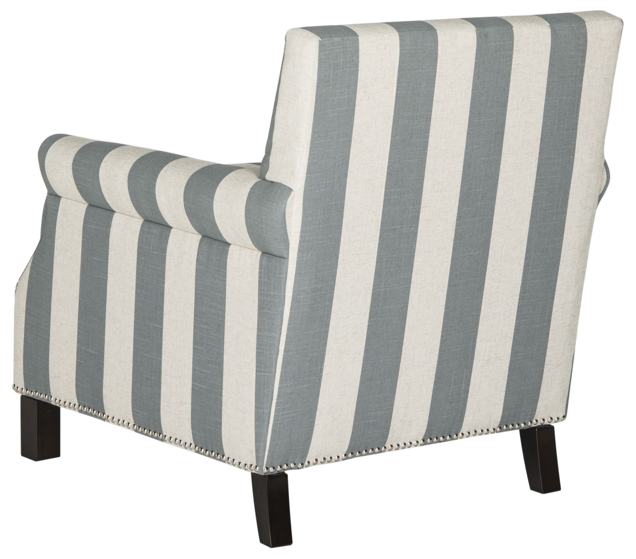 Safavieh Easton Club Chair With Awning Stripes Silver Nail Heads