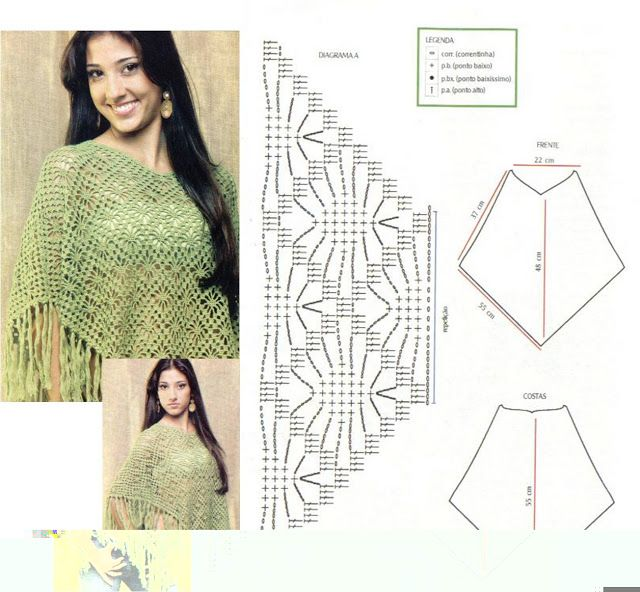Solo esquemas y diseños de crochet: Poncho   De todo Crochet ...