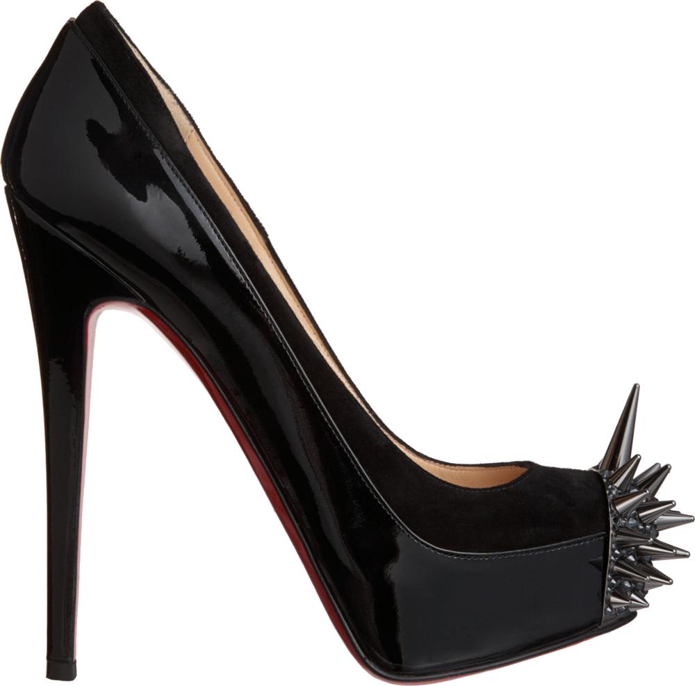 Black Louboutin Lady S Png Image Louboutin Spiked Heels Christian Louboutin Christian Louboutin Shoes