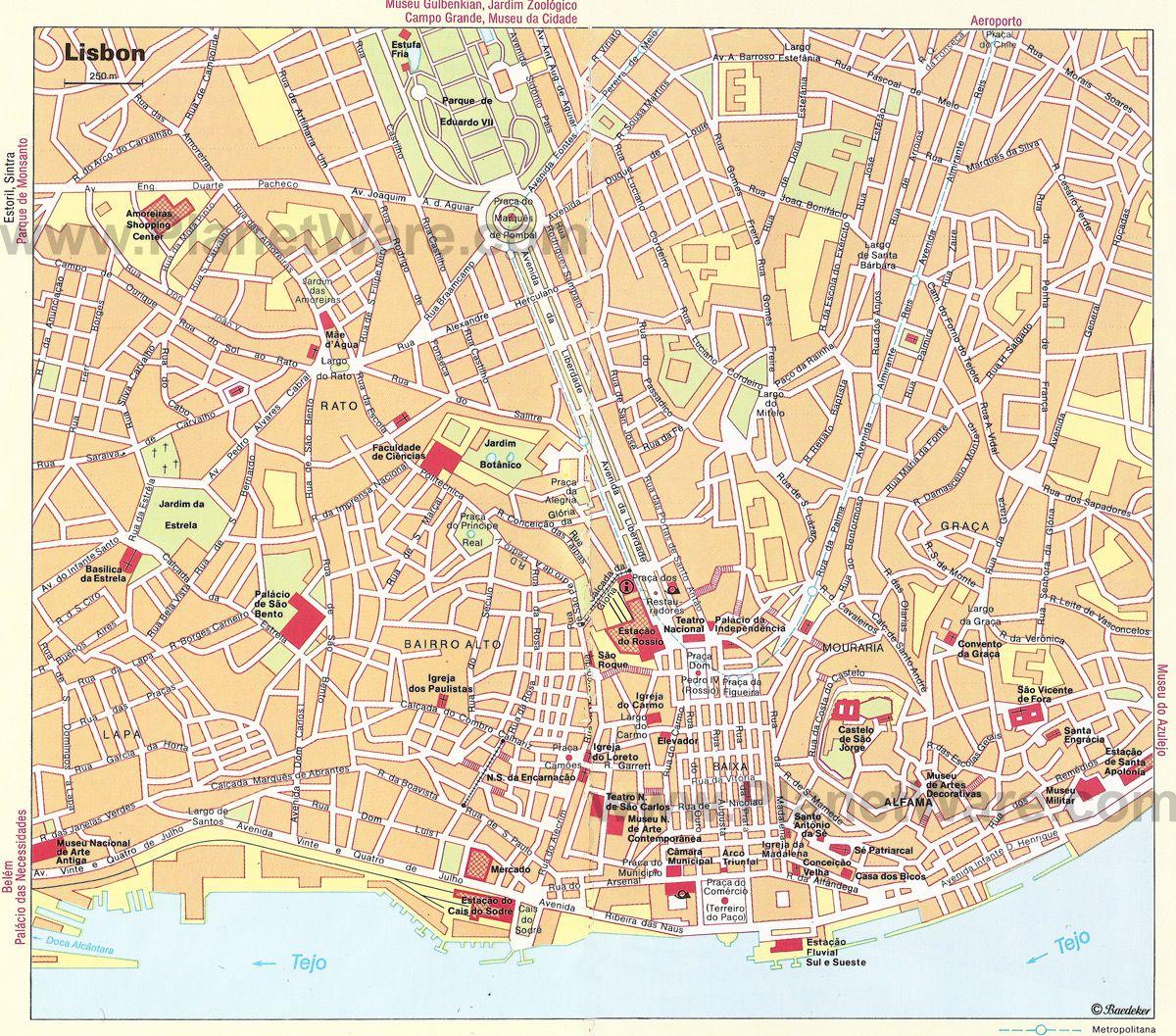 Lisbon Portugal Must Do Travel Tips: Lisbon Map - Tourist Attractions