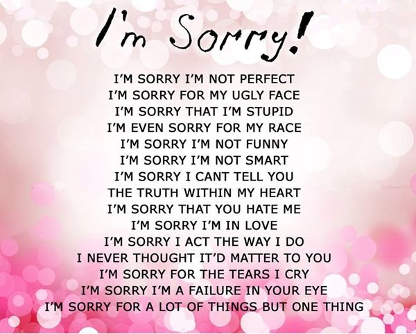 Dear mean kids, Iu0027m sorry Iu0027m not perfect Life   Love Pinterest - apology card messages