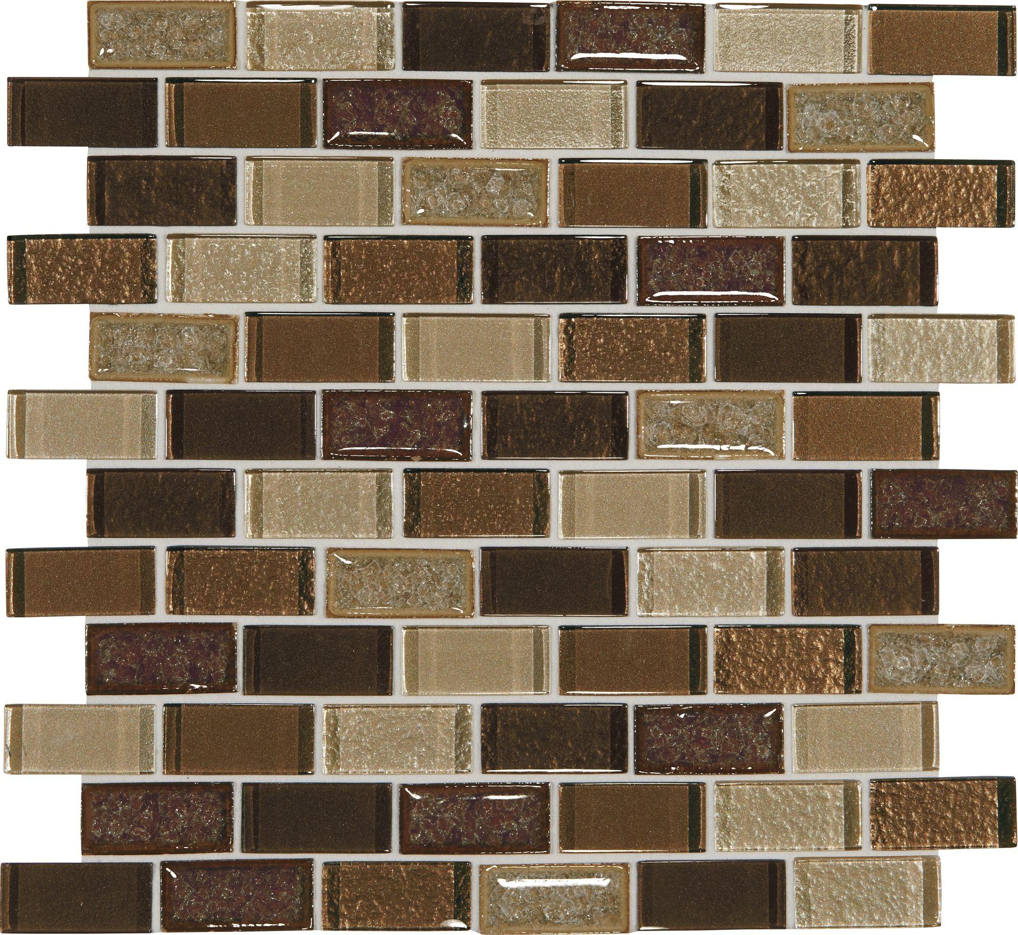 Crystal Shores Copper Coast 12x13 Brick-Joint Blended Mosaic Tile