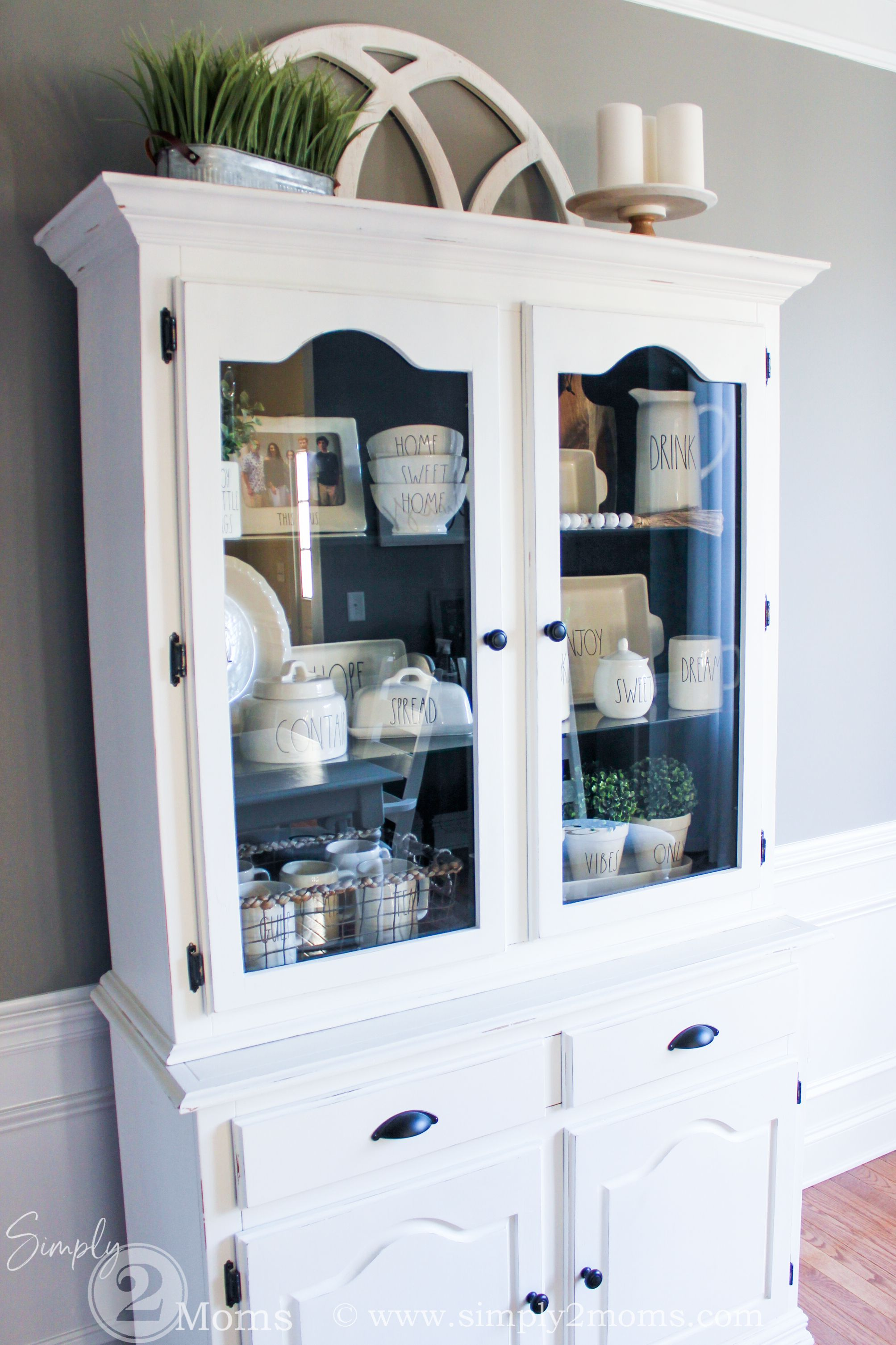How to Style A Farmhouse China Cabinet with Rae Dunn Pottery | Simply2moms