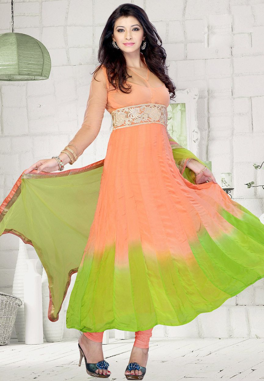 Shaded peach and neon green faux georgette anarkali churidar kameez