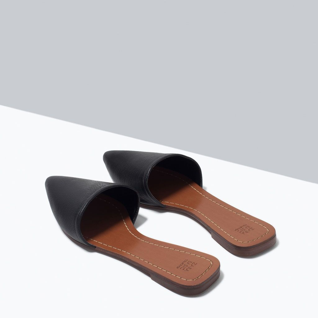 FLAT LEATHER SLIPPERS-Shoes-Woman-SHOES & BAGS | ZARA ...