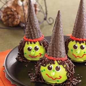 Candy-apple witches with chocolate icecream cone hat. Very fun for Halloween.
