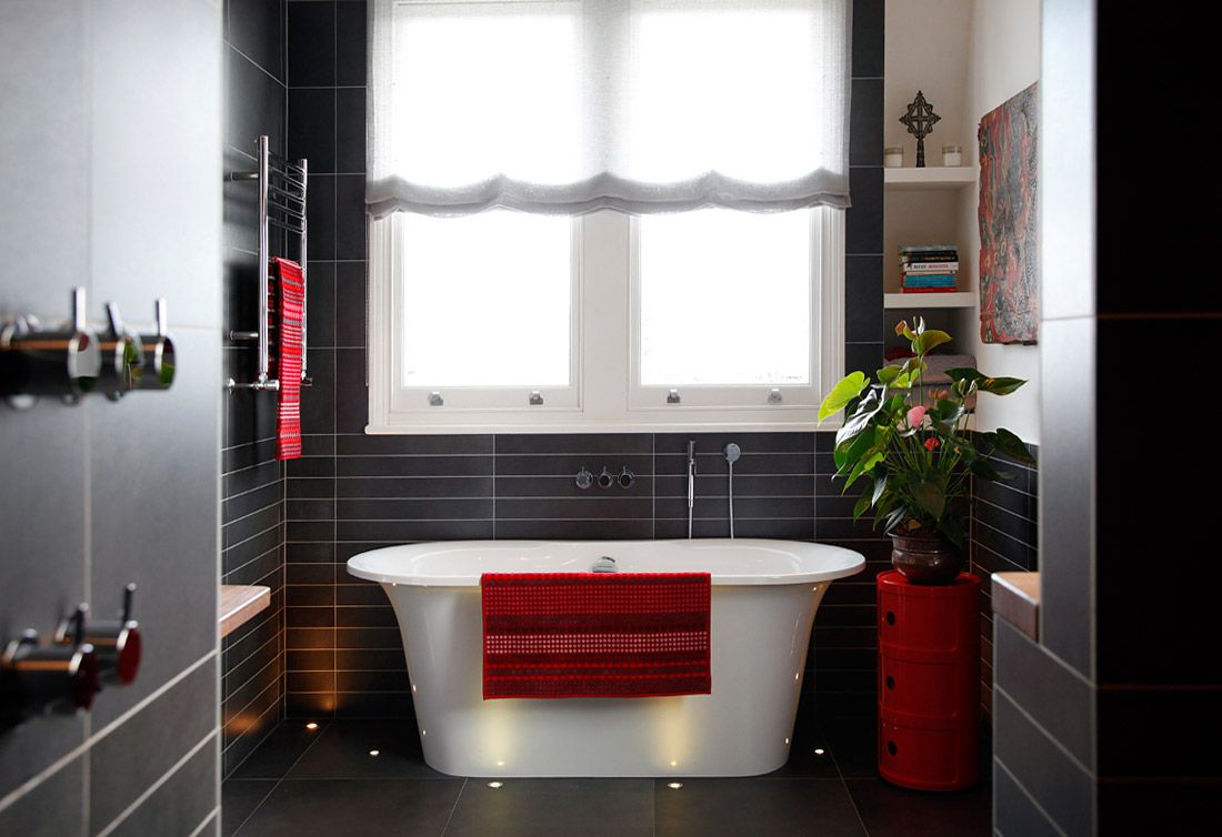 A Modern Eclectic House Tour Bathroom Red White Bathroom