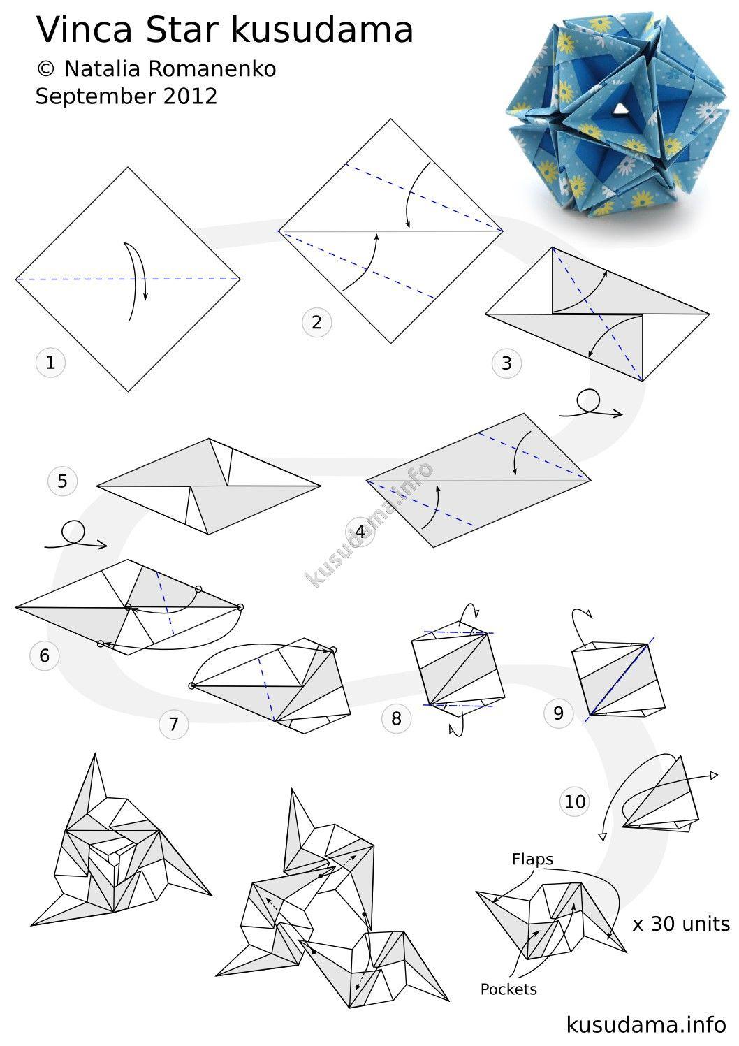 Vinca Star Origami Folding Pinterest And Kusudama Diagrams