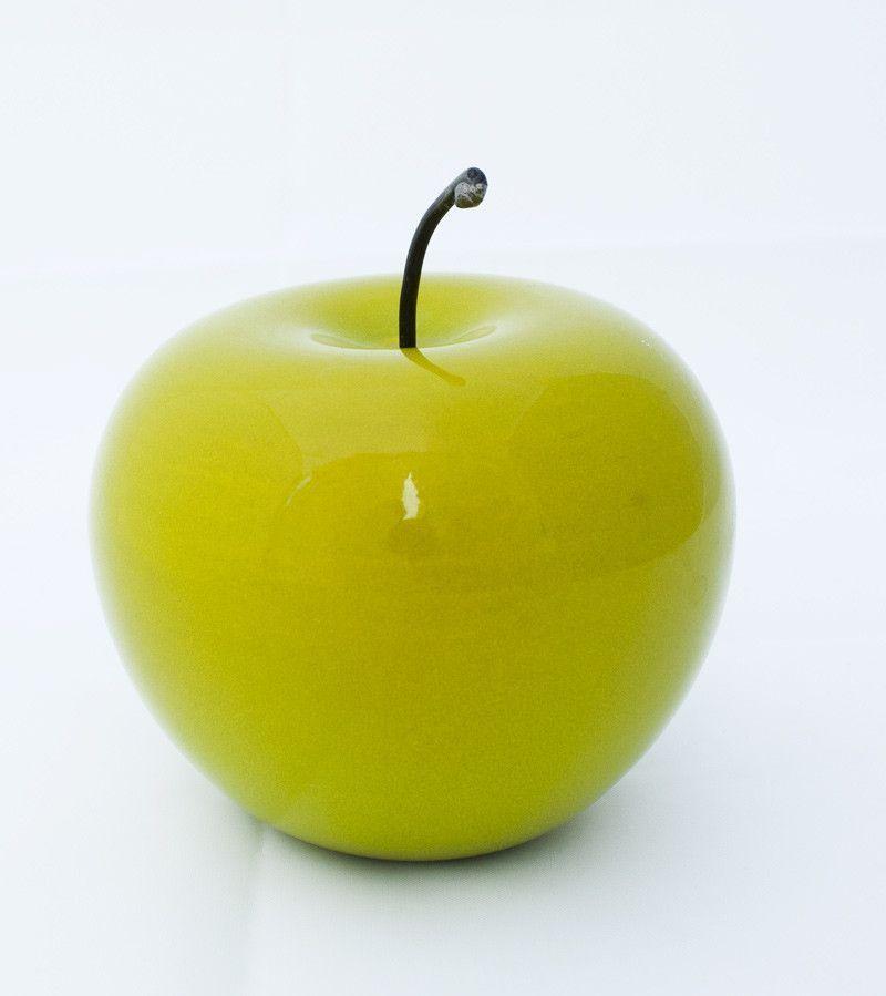 Green Apple Glossy Ceramic Handmade Table Ornament Artificial Fruit