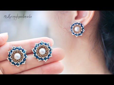 Photo of Lotus stud beaded earrings. Mother's day gift ideas. How to make earrings