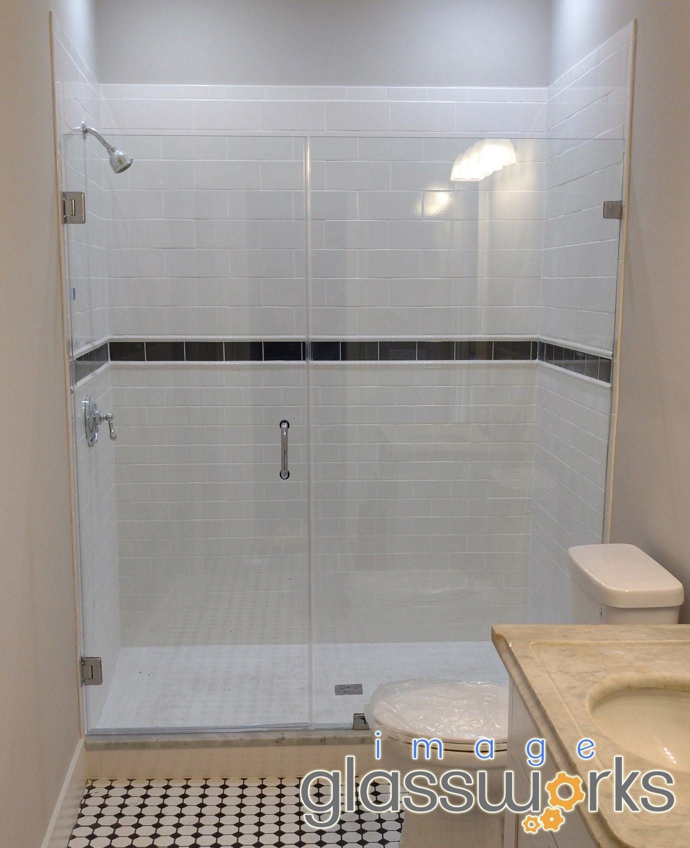 3 8 Thick Frameless Shower Door And Panel With Clips And Brushed