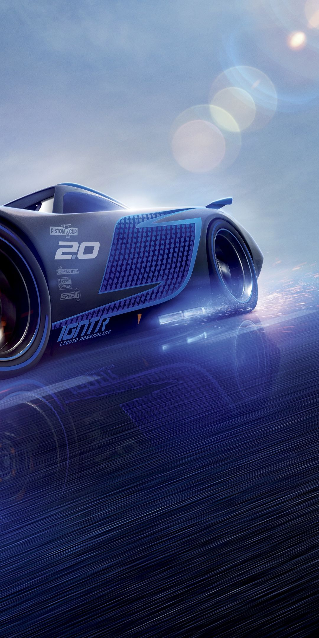 Cars 3, blue, Jackson Storm, animation movie, 1080x2160 wallpaper