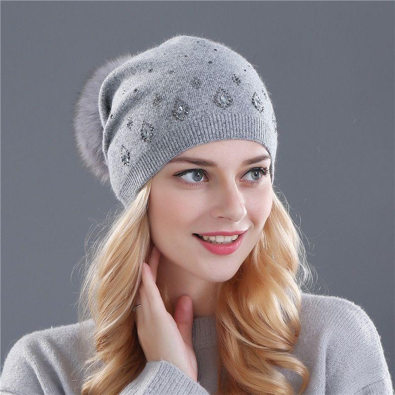 55079bcb89b Xthree women s winter beanies hat for women Shining Rhinestone Rabbit fur  wool knitted hat the female of the mink pom pom hats
