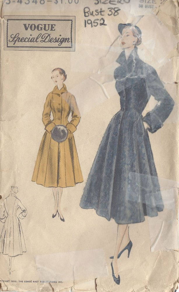 1952 Vintage Vogue Näh Muster B38 Mantel (1069) | sewing | Pinterest ...
