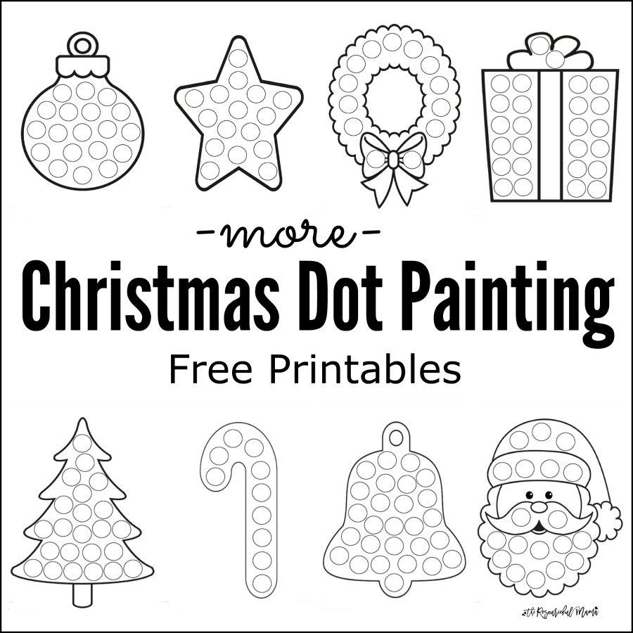 More Christmas Dot Painting {Free Printables | Dot painting, Kid ...