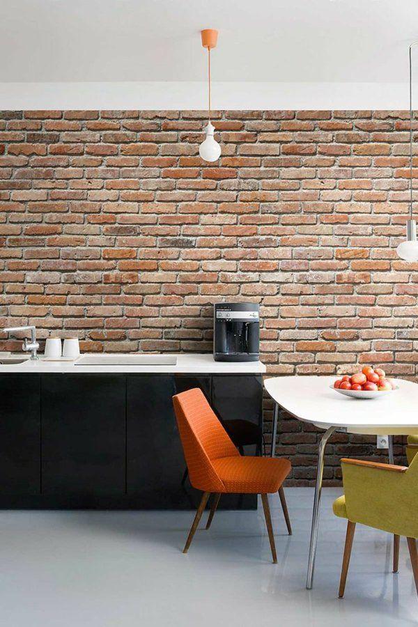 wanddeko selber machen ziegelwand küche Europaletten Pinterest - küche selber machen