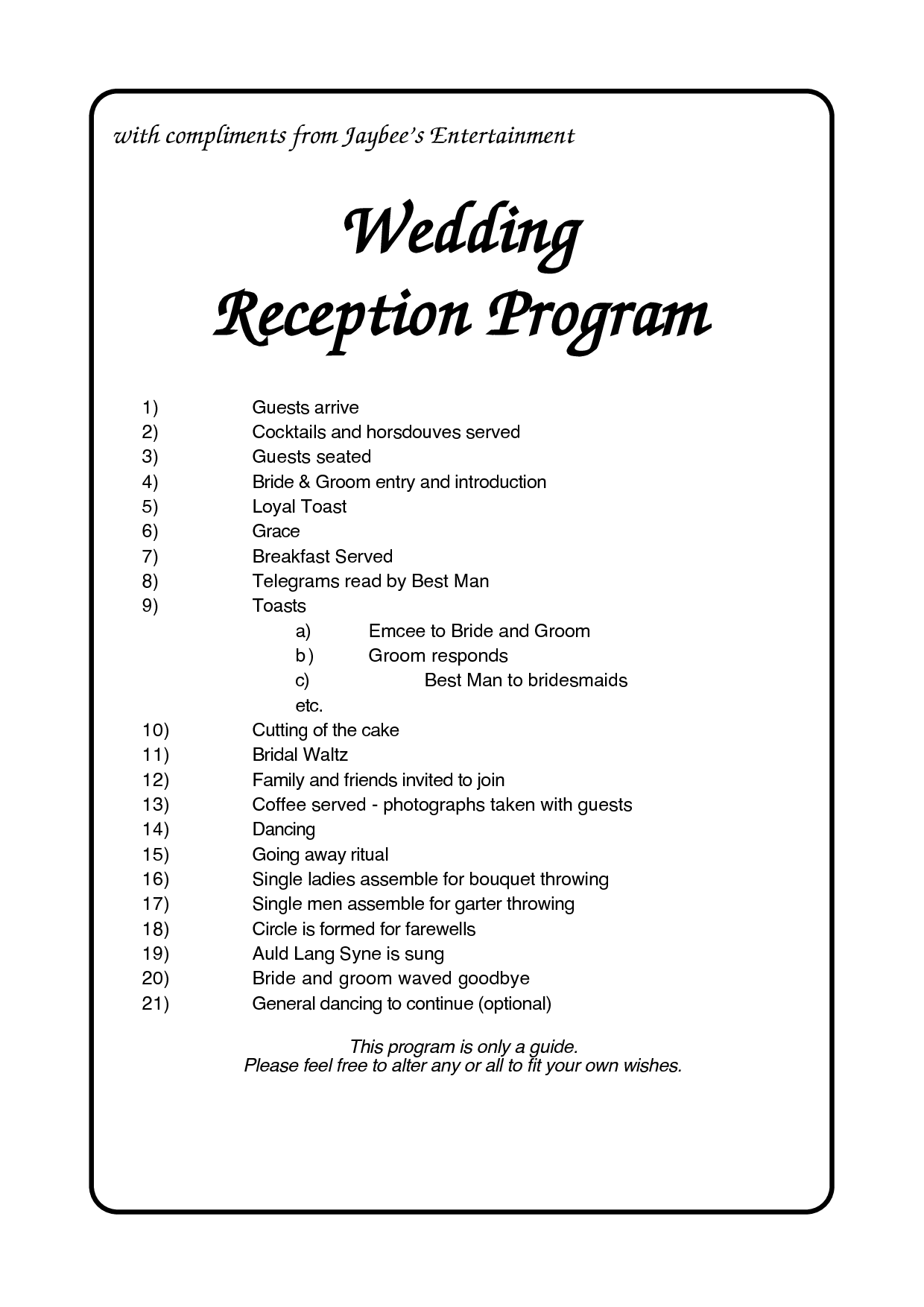 Wedding Program Order of Reception |  Jaybee s Entertainment