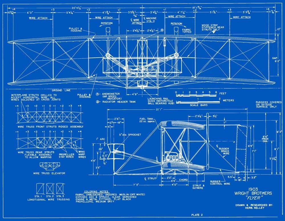 Wright Brothers Flyer Blueprints as art Pinterest Wright - copy famous blueprint art